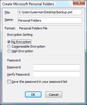 PST Encryption Dialog