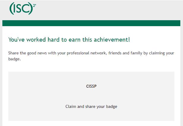 (ISC)² CISSP Acclaim Badge Email