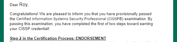 (ISC)² CISSP Provisionally Passed Email
