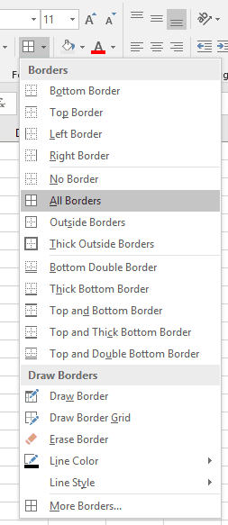 Excel All Borders