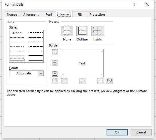 Excel Border Tab