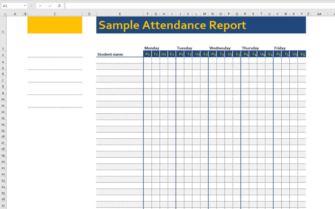 Excel Border Sample Attendance Report Template Example