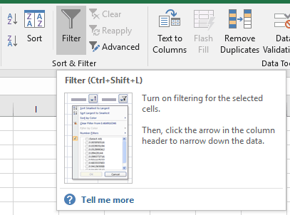Excel Data Filter Select A and P