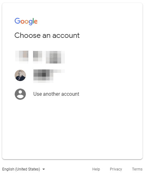Google Domains Back to Choose Account