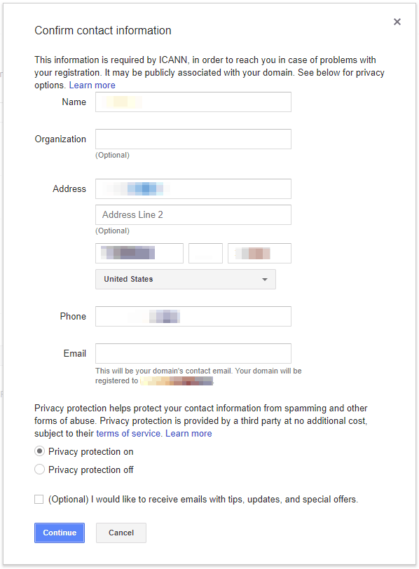 Google Domains Confirm Contact
