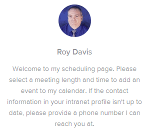 Roy Davis Calendly Scheduling Page Intro