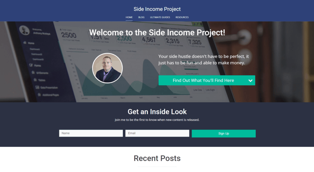 Snippet of Side Income Project Home Page