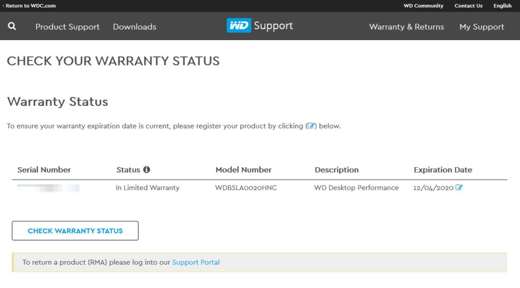 Western Digital Warranty Example