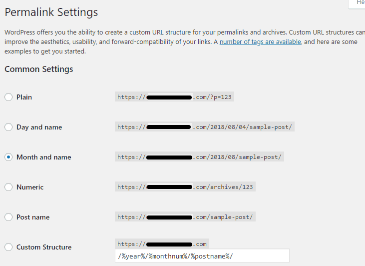 WordPress Settings Updated Permalinks